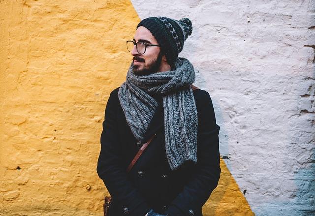 muž v zimě