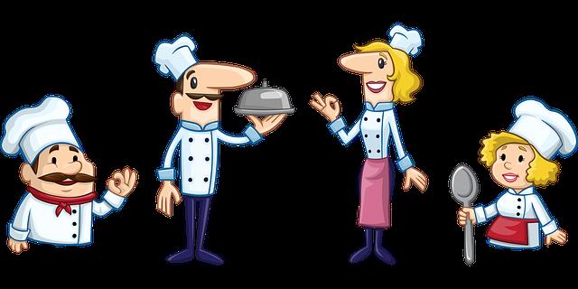 kuchaři nabízející jídlo